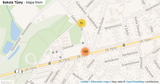 Sokola Tůmy - mapa rozložení firem v ulici.