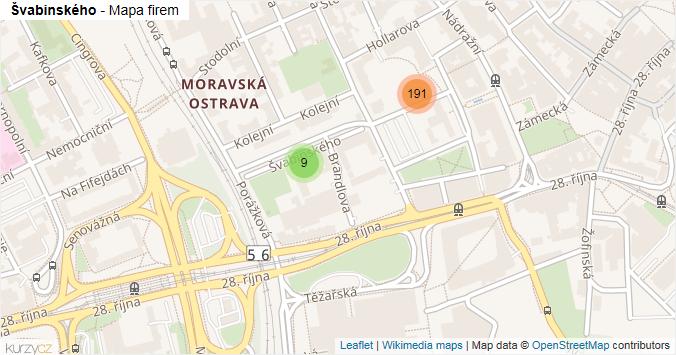 Švabinského - mapa rozložení firem v ulici.
