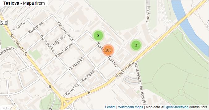 Teslova - mapa rozložení firem v ulici.