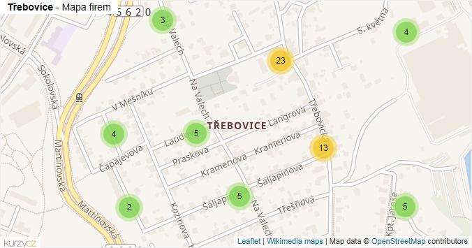 Třebovice - mapa rozložení firem v části obce.