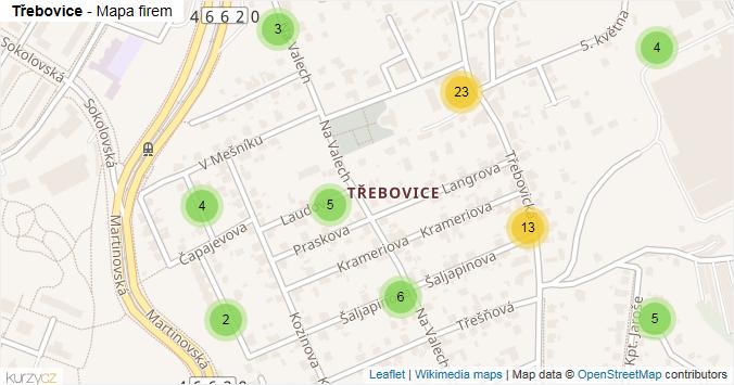 Třebovice - mapa rozložení firem v městské části.