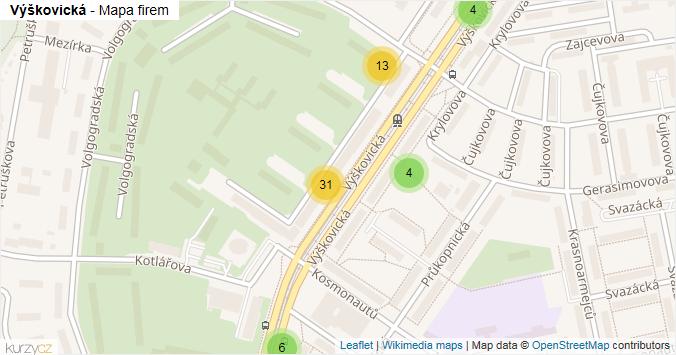 Výškovická - mapa rozložení firem v ulici.