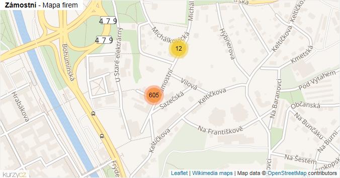 Zámostní - mapa rozložení firem v ulici.