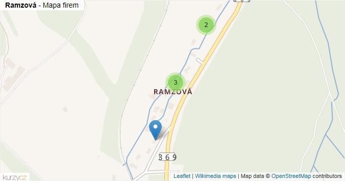 Ramzová - mapa rozložení firem v části obce.