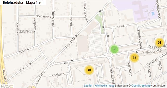 Bělehradská - mapa rozložení firem v ulici.