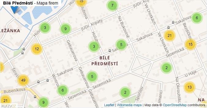 Bílé Předměstí - mapa rozložení firem v části obce.