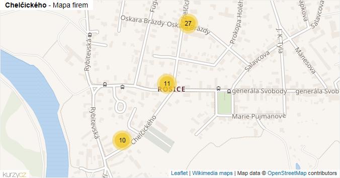 Chelčického - mapa rozložení firem v ulici.