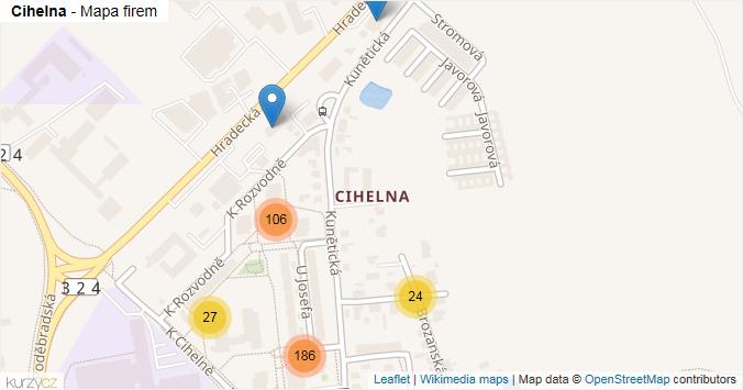 Cihelna - mapa rozložení firem v části obce.