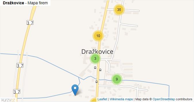 Dražkovice - mapa rozložení firem v části obce.