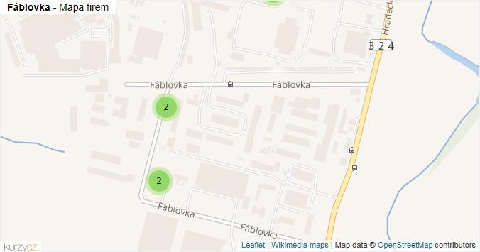 Fáblovka - mapa rozložení firem v ulici.