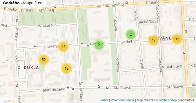 Gorkého - mapa rozložení firem v ulici.