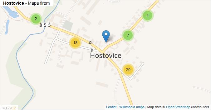 Hostovice - mapa rozložení firem v části obce.