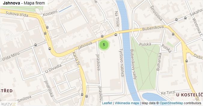 Jahnova - mapa rozložení firem v ulici.