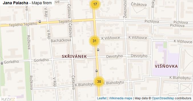Jana Palacha - mapa rozložení firem v ulici.