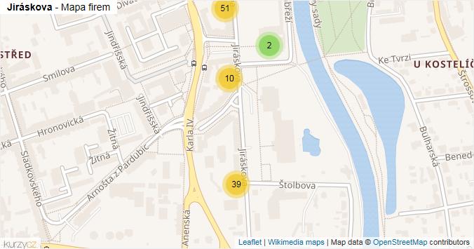 Jiráskova - mapa rozložení firem v ulici.