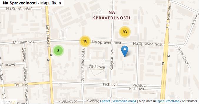 Na Spravedlnosti - mapa rozložení firem v ulici.