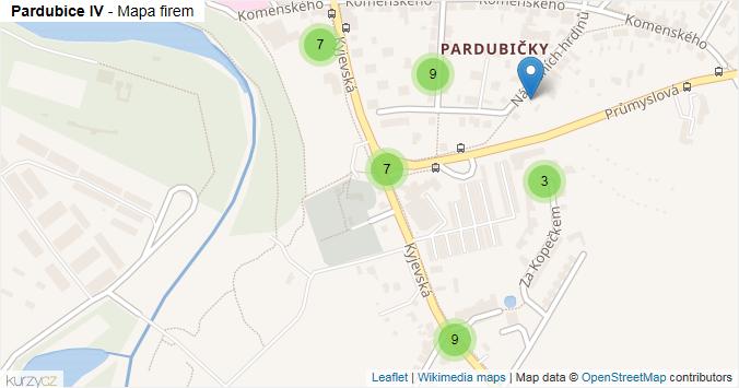 Pardubice IV - mapa rozložení firem v městské části.