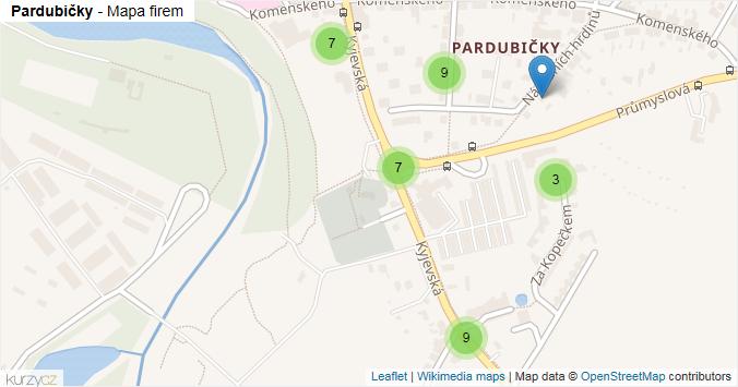 Pardubičky - mapa rozložení firem v části obce.