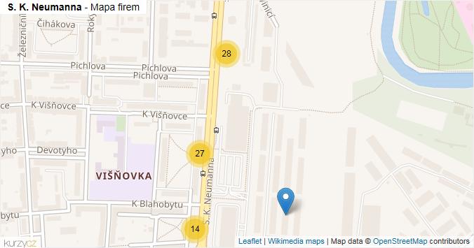 S. K. Neumanna - mapa rozložení firem v ulici.