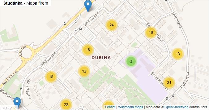 Studánka - mapa rozložení firem v části obce.