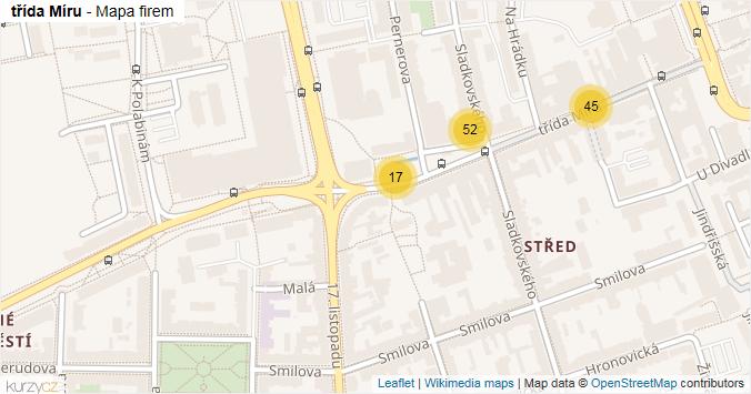 třída Míru - mapa rozložení firem v ulici.