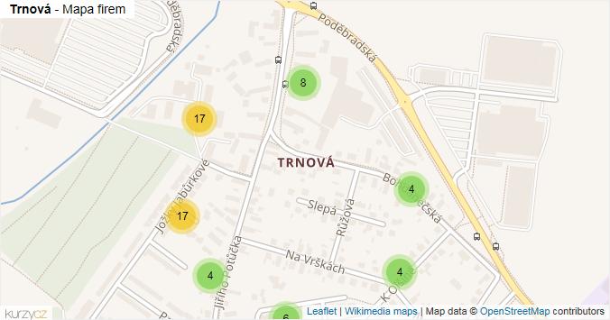 Trnová - mapa rozložení firem v části obce.