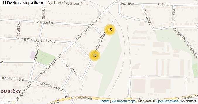 U Borku - mapa rozložení firem v ulici.