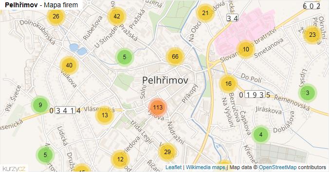 Pelhřimov - mapa rozložení firem v obci.