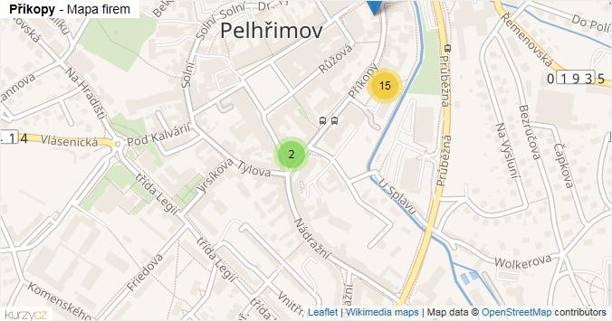 Příkopy - mapa rozložení firem v ulici.