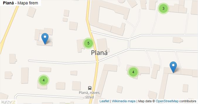 Planá - mapa rozložení firem v obci.