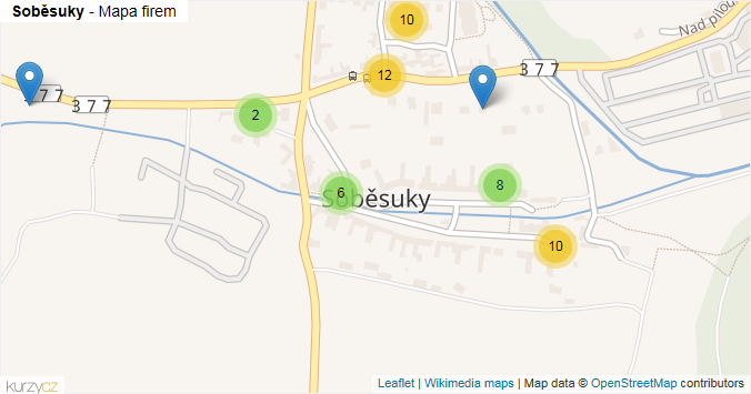 Soběsuky - mapa rozložení firem v části obce.