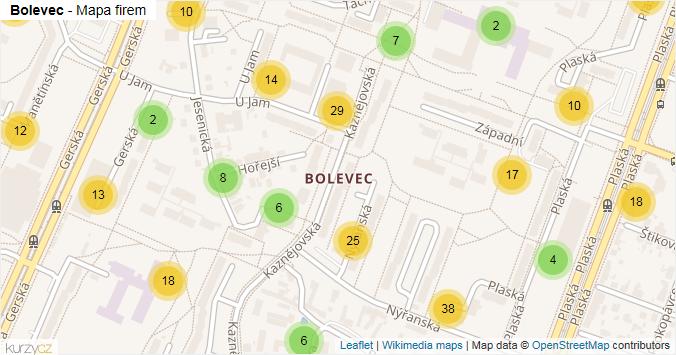 Bolevec - mapa rozložení firem v části obce.