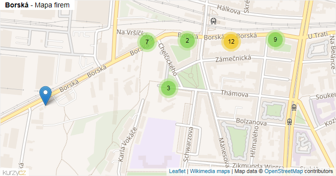 Borská - mapa rozložení firem v ulici.