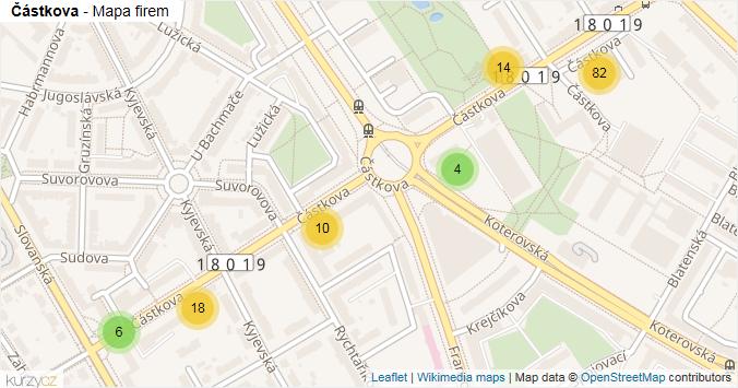 Částkova - mapa rozložení firem v ulici.