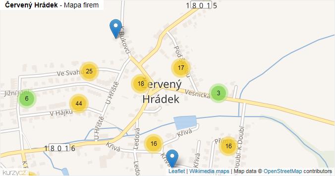Červený Hrádek - mapa rozložení firem v části obce.