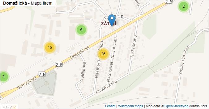 Domažlická - mapa rozložení firem v ulici.