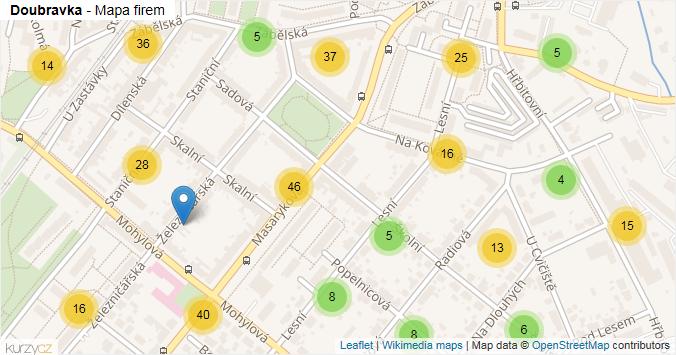 Doubravka - mapa rozložení firem v části obce.