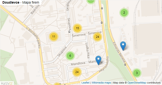 Doudlevce - mapa rozložení firem v části obce.