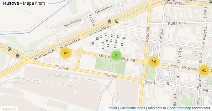 Husova - mapa rozložení firem v ulici.