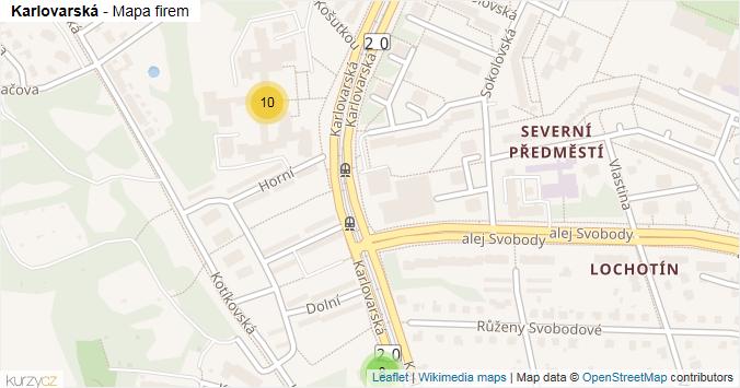 Karlovarská - mapa rozložení firem v ulici.