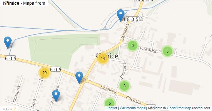 Křimice - mapa rozložení firem v části obce.