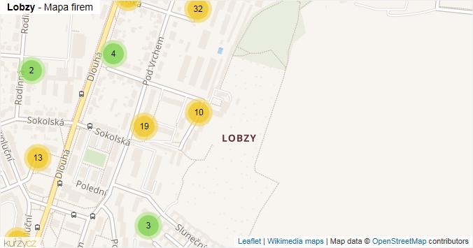 Lobzy - mapa rozložení firem v části obce.