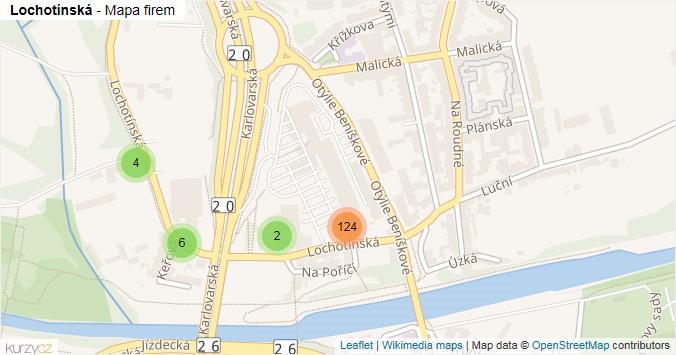Lochotínská - mapa rozložení firem v ulici.