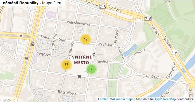 náměstí Republiky - mapa rozložení firem v ulici.