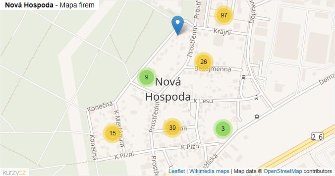 Nová Hospoda - mapa rozložení firem v části obce.