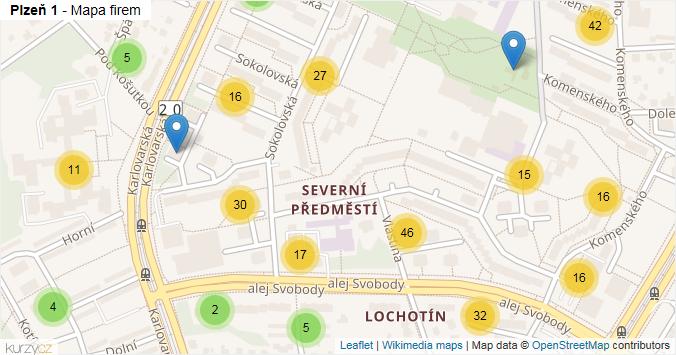 Plzeň 1 - mapa rozložení firem v městské části.