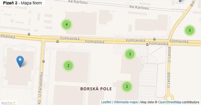 Plzeň 3 - mapa rozložení firem v městské části.