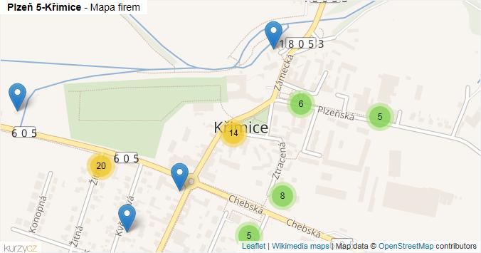 Plzeň 5-Křimice - mapa rozložení firem v městské části.
