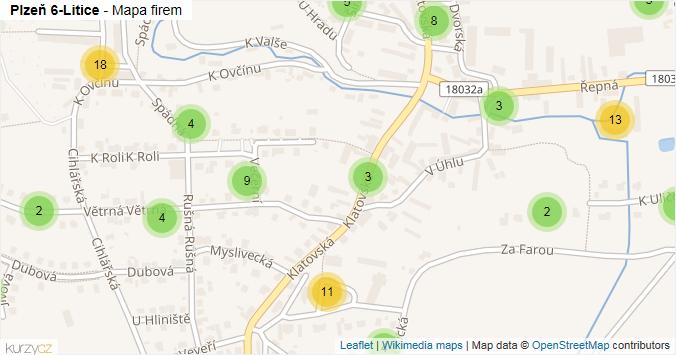Plzeň 6-Litice - mapa rozložení firem v městské části.