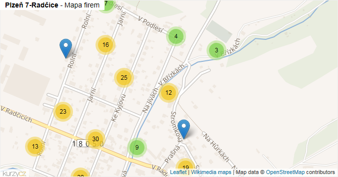 Plzeň 7-Radčice - mapa rozložení firem v městské části.